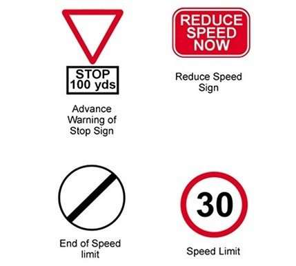speed road signs in Barbados