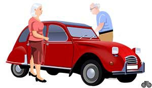 Two Elderly Citizens Standing Next to a Car
