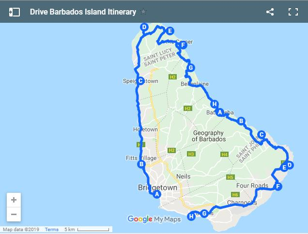 driving route Barbados island