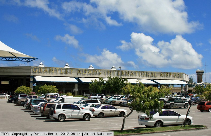 parked cars at Barbados airport
