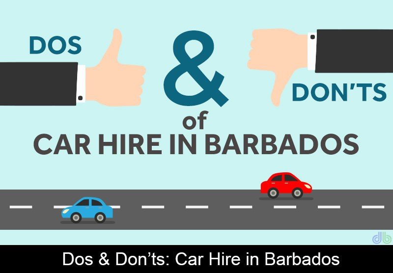 thumbs up and thumbs down representing things not to do when renting a car in Barbados and two vehicles on a road